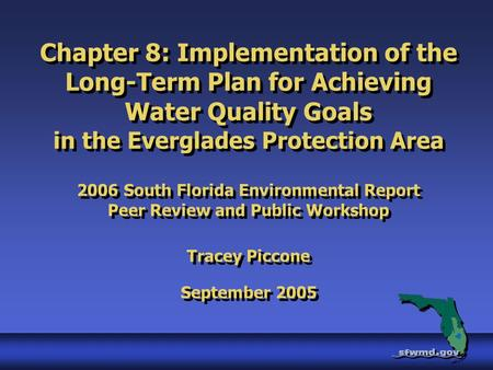 Chapter 8: Implementation of the Long-Term Plan for Achieving Water Quality Goals in the Everglades Protection Area 2006 South Florida Environmental Report.