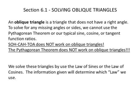 Section SOLVING OBLIQUE TRIANGLES