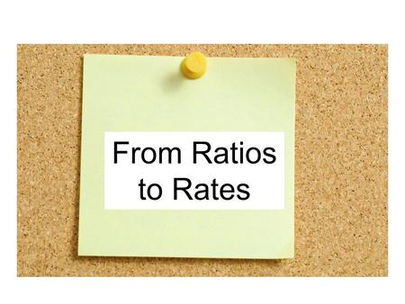 Unit Rate Review From Ratios to Rates.
