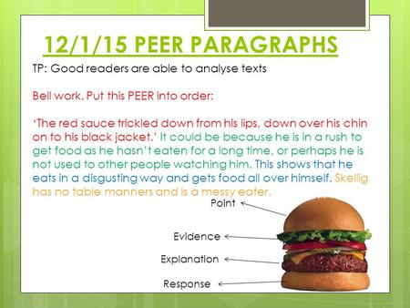 12/1/15 PEER PARAGRAPHS TP: Good readers are able to analyse texts Bell work. Put this PEER into order: 'The red sauce trickled down from his lips, down.