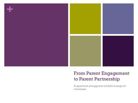 + From Parent Engagement to Parent Partnership A spectrum of supports to fulfill a range of outcomes.