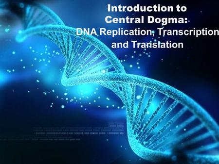 Introduction to Central Dogma: DNA Replication, Transcription and Translation.