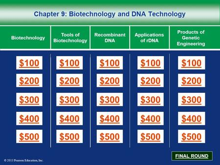 © 2013 Pearson Education, Inc. Chapter 9: Biotechnology and DNA Technology $100 $200 $300 $400 $500 $100$100$100 $200 $300 $400 $500 Biotechnology Tools.