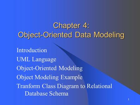 Chapter 4: Object-Oriented Data Modeling