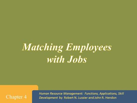 Matching Employees with Jobs