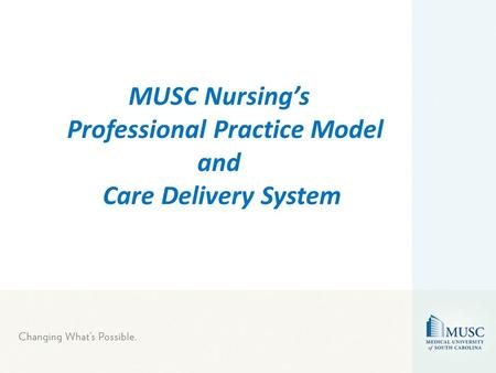 MUSC Nursing's Professional Practice Model and Care Delivery System