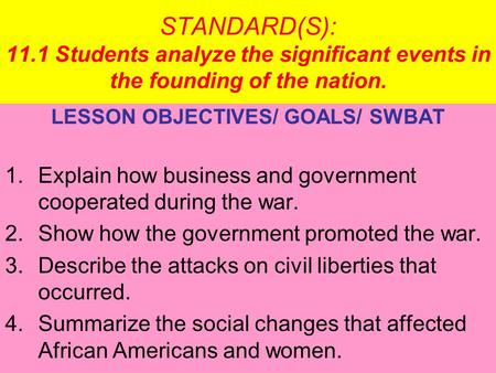 LESSON OBJECTIVES/ GOALS/ SWBAT