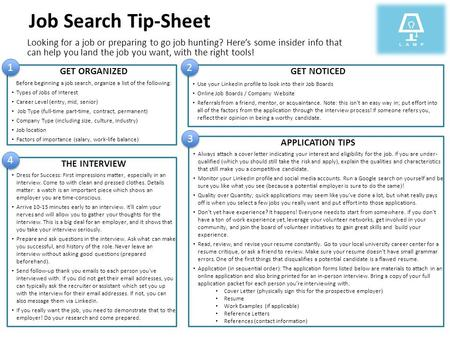 Job Search Tip-Sheet Looking for a job or preparing to go job hunting? Here's some insider info that can help you land the job you want, with the right.