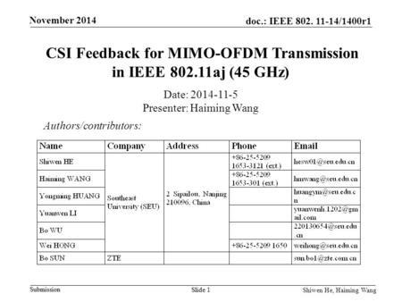 CSI Feedback for MIMO-OFDM Transmission in IEEE aj (45 GHz)