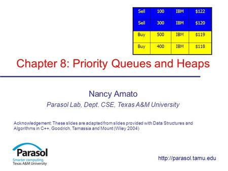 Chapter 8: Priority Queues and Heaps Nancy Amato Parasol Lab, Dept. CSE, Texas A&M University Acknowledgement: These slides are adapted from slides provided.
