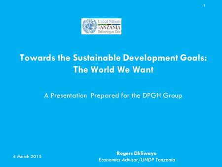 Towards the Sustainable Development Goals: