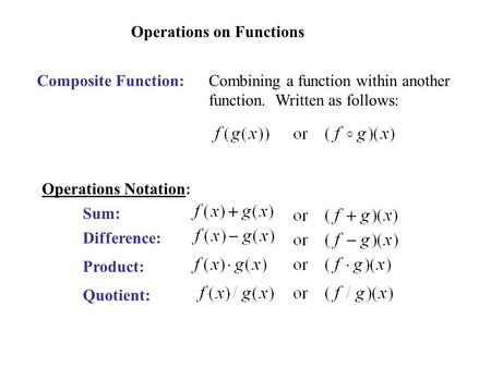 Operations on Functions Composite Function:Combining a function within another function. Written as follows: Operations Notation: Sum: Difference: Product: