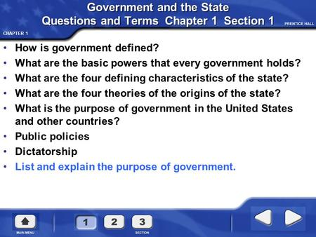 Government and the State Questions and Terms Chapter 1 Section 1