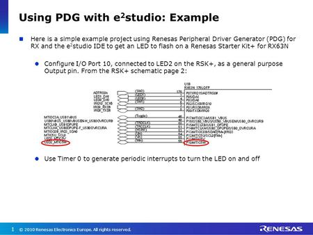 Using PDG with e2studio: Example