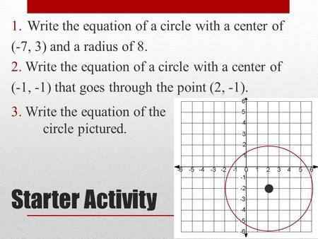 Starter Activity Write the equation of a circle with a center of