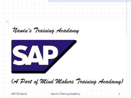 SAP SD DemoNawin's Training Acadamy1. OVERVIEW ON SAP SALES & DISTRIBUTION Mr. RG Nawin Krishna, Bsc(cs);Msc(psychology);MBA(HR);SAP(HCM/HR), - Nawin's.