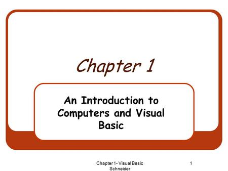 Chapter 1- Visual Basic Schneider 1 Chapter 1 An Introduction to Computers and Visual Basic.