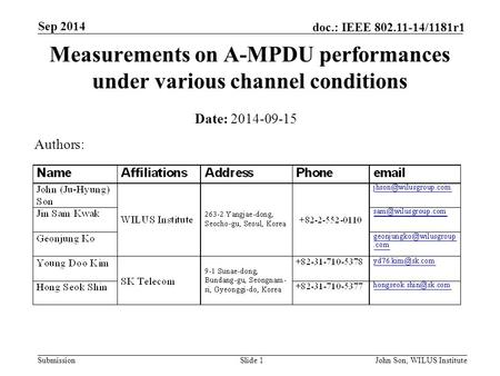 Submission doc.: IEEE 802.11-14/1181r1 Sep 2014 John Son, WILUS InstituteSlide 1 Measurements on A-MPDU performances under various channel conditions Date: