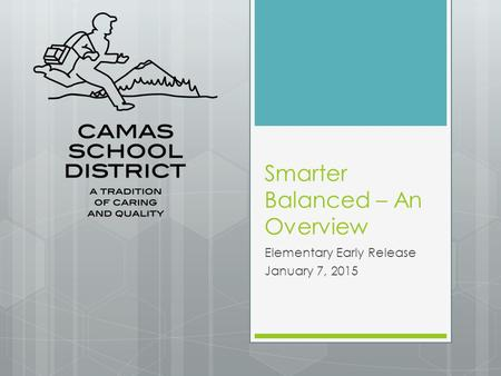 Smarter Balanced – An Overview Elementary Early Release January 7, 2015.