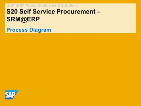 SAP SRM Rapid Deployment Solution S20 Self Service Procurement – Process Diagram.