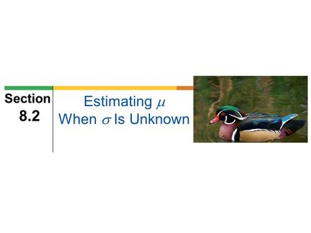 Estimating  When  Is Unknown