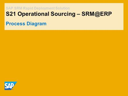 SAP SRM Rapid Deployment Solution S21 Operational Sourcing – Process Diagram.
