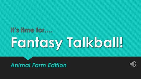 It's time for…. Fantasy Talkball!