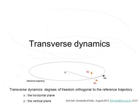 Transverse dynamics Transverse dynamics: degrees of freedom orthogonal to the reference trajectory x : the horizontal plane y : the vertical plane Erik.