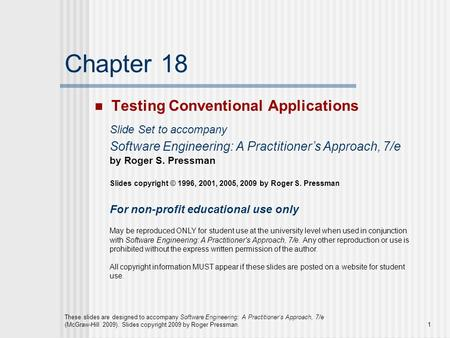 Chapter 18 Testing Conventional Applications