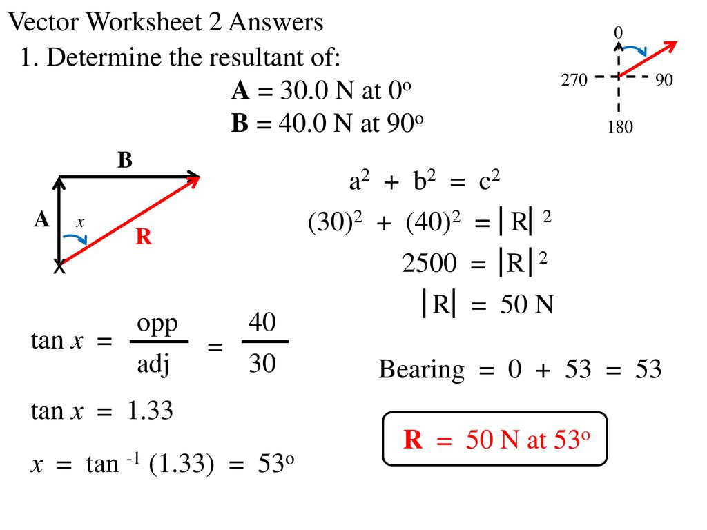 Vector Worksheet 2 Answers 1 Determine The Resultant Of Ppt Download Graphical addition of vectors worksheet