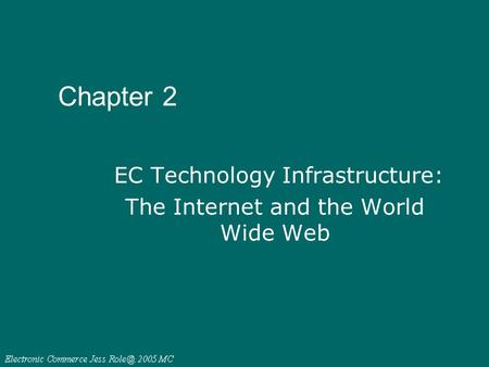 Chapter 2 EC Technology Infrastructure: The Internet and the World Wide Web.