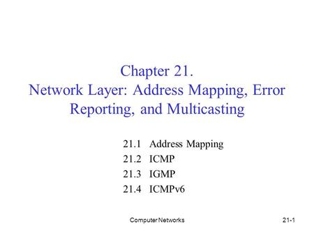 Computer Networks21-1 Chapter 21. Network Layer: Address Mapping, Error Reporting, and Multicasting 21.1 Address Mapping 21.2 ICMP 21.3 IGMP 21.4 ICMPv6.