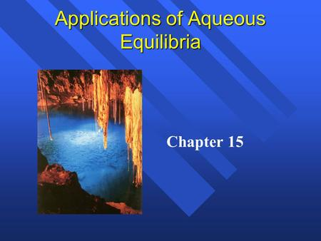 Applications of Aqueous Equilibria Chapter 15. Common Ion Effect Calculations Calculate the pH and the percent dissociation of a.200M HC 2 H 3 O 2 (K.