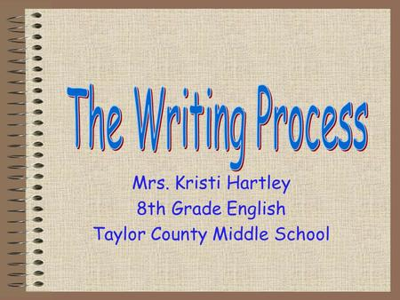 Mrs. Kristi Hartley 8th Grade English Taylor County Middle School.