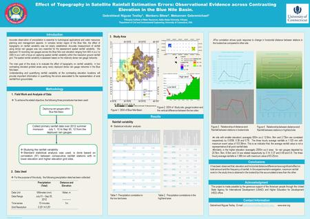 Poster template by ResearchPosters.co.za Effect of Topography in Satellite Rainfall Estimation Errors: Observational Evidence across Contrasting Elevation.