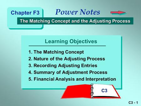 C3 - 1 Learning Objectives Power Notes The Matching Concept and the Adjusting Process The Matching Concept and the Adjusting Process 1. The Matching Concept.