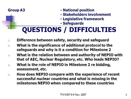 TM/WSP 5-9 Nov. 20071 Group A3- National position - Stakeholders involvement - Legislative framework - Safeguards QUESTIONS / DIFFICULTIES 1. Difference.