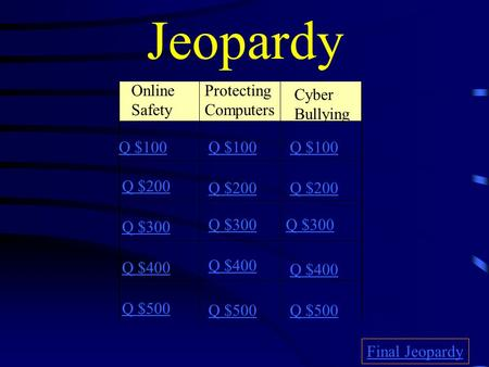 Jeopardy Online Safety Cyber Bullying Q $100 Q $200 Q $300 Q $400 Q $500 Q $100 Q $200 Q $300 Q $400 Q $500 Final Jeopardy Protecting Computers.