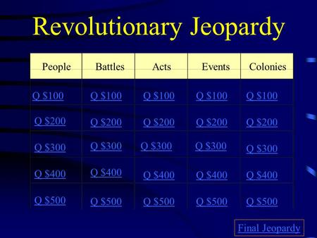 Revolutionary Jeopardy PeopleBattlesActsEvents Colonies Q $100 Q $200 Q $300 Q $400 Q $500 Q $100 Q $200 Q $300 Q $400 Q $500 Final Jeopardy.