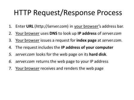 HTTP Request/Response Process 1.Enter URL (http://server.com) in your browser's address bar. 2.Your browser uses DNS to look up IP address of server.com.