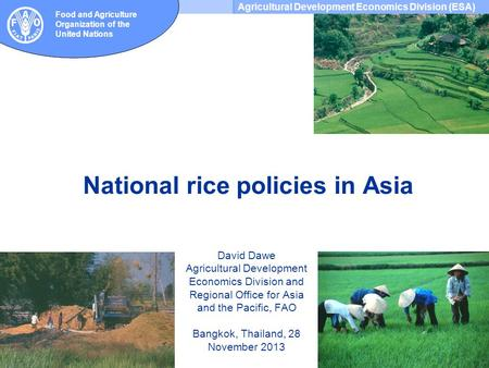 Agricultural Development Economics Division (ESA) Food and Agriculture Organization of the United Nations National rice policies in Asia David Dawe Agricultural.