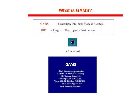 What is GAMS?. While they are not NLP solvers, per se, attention should be given to modeling languages like: GAMS- www.gams.com,www.gams.com AIMMS- www.aimms.com,www.aimms.com.