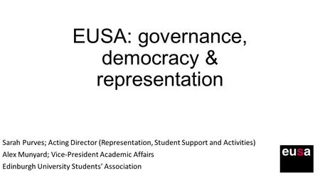 EUSA: governance, democracy & representation