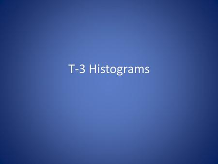 T-3 Histograms. Histogram Basics A histogram is a special type of bar graph that measures the frequency of data Horizontal axis: represents values in.