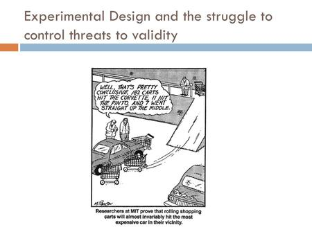 Experimental Design and the struggle to control threats to validity.