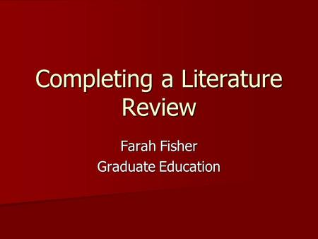 Completing a Literature Review