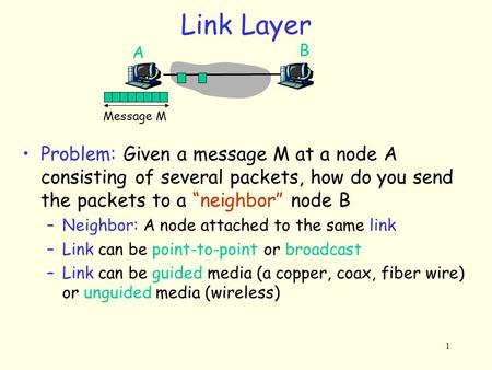 "1 Link Layer Message M A B Problem: Given a message M at a node A consisting of several packets, how do you send the packets to a ""neighbor"" node B –Neighbor:"