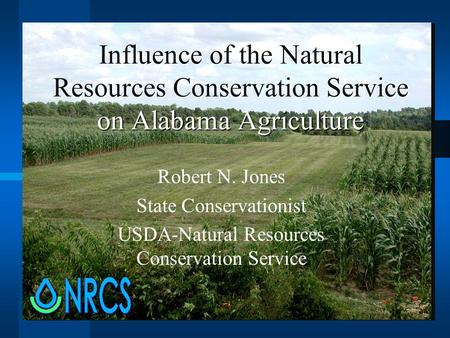 Influence of the Natural Resources Conservation Service on Alabama Agriculture Robert N. Jones State Conservationist USDA-Natural Resources Conservation.