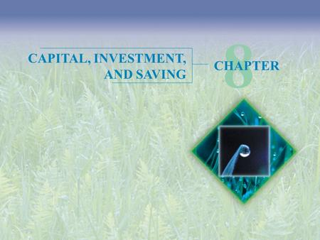 8 CAPITAL, INVESTMENT, AND SAVING CHAPTER.