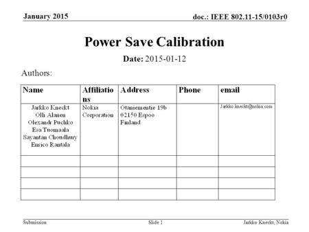 Submission doc.: IEEE 802.11-15/0103r0 January 2015 Jarkko Kneckt, NokiaSlide 1 Power Save Calibration Date: 2015-01-12 Authors: